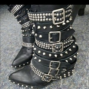Jeffrey Campbell Draco silver stud leather boots 6